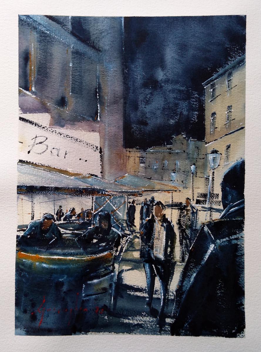 Cagliari, Corso Vittorio Emanuele II – Acquerello su carta copia