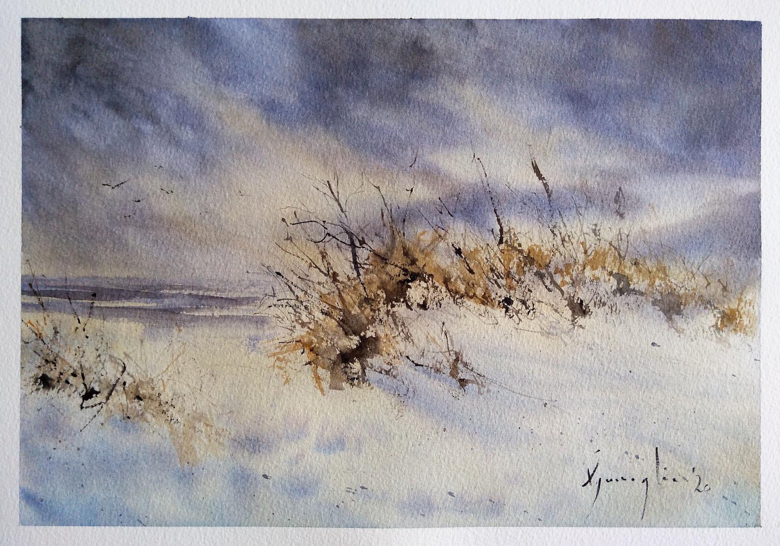 Platamona, mare d'inverno – Acquerello su carta copia