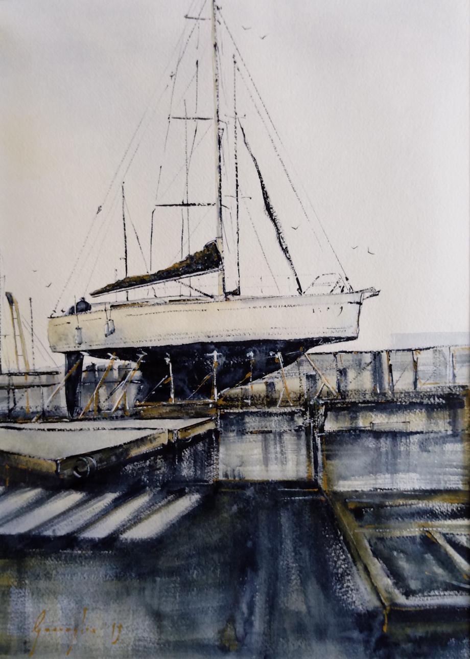 Porto Torres, cantiere navale – Acquerello su carta copia
