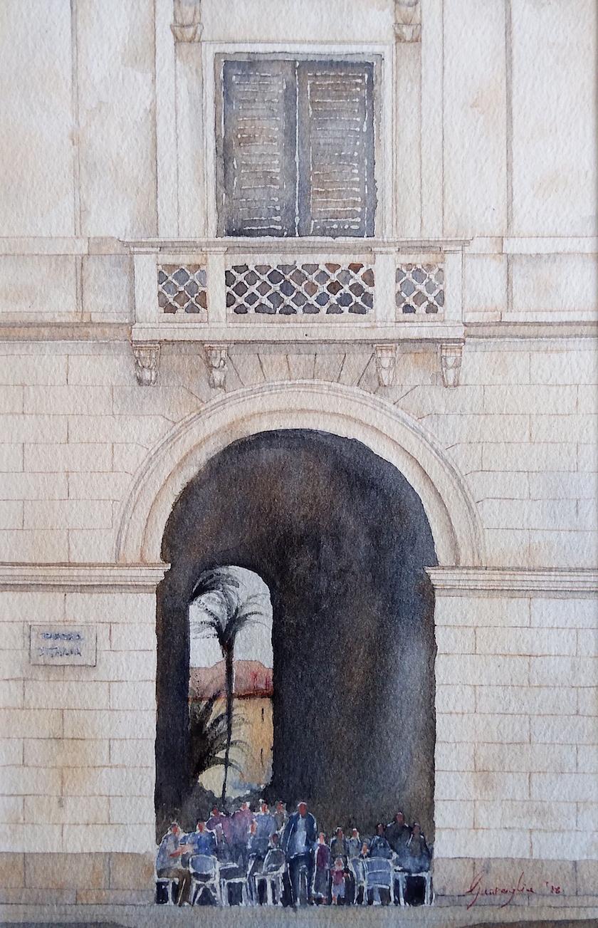Sassari, portici Crispo – Acquerello su carta copia